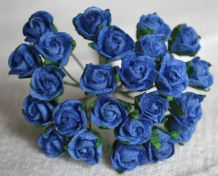 8mm ROYAL BLUE SEMI-OPEN ROSE BUDS Mulberry Paper Flowers